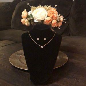Jewelry - NWOT ~ Gold & Swarovski 3-Pc Necklace/Earring Set